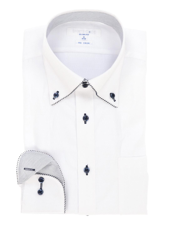 形態安定スリムフィットドゥエボタンダウンパイピングシャツ