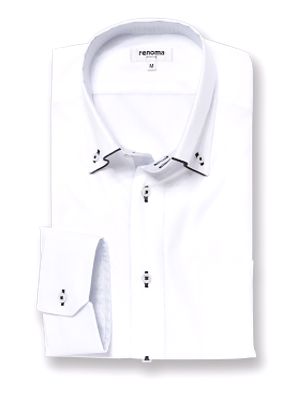 アイスカプセル形態安定レギュラーフィット ドゥエボタンダウン7分袖シャツ