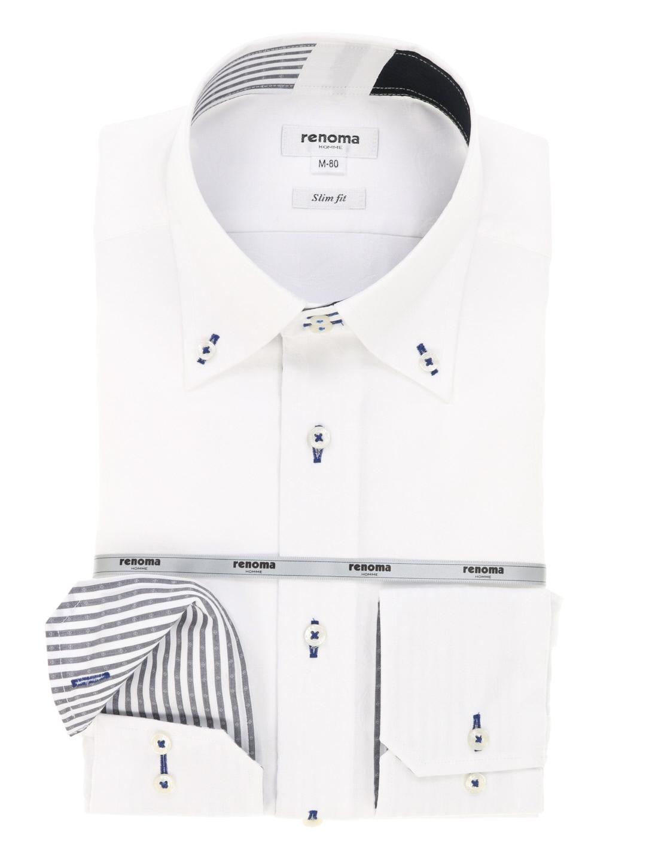 形態安定スリムフィットドゥエボタンダウンシャツ