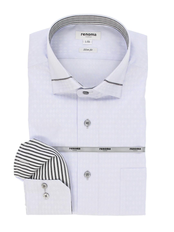 イージーケア スリムフィット ワイドカラー長袖シャツ
