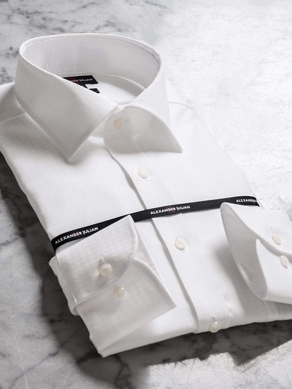 形態安定80双スリムフィットワイドカラー長袖シャツ