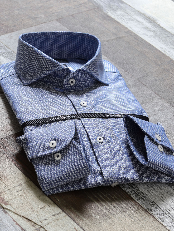 綿100%形態安定スリムフィット カッタウェイ長袖シャツ