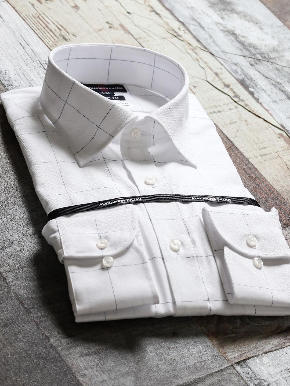 綿100%形態安定スリムフィット ワイドカラー長袖シャツ