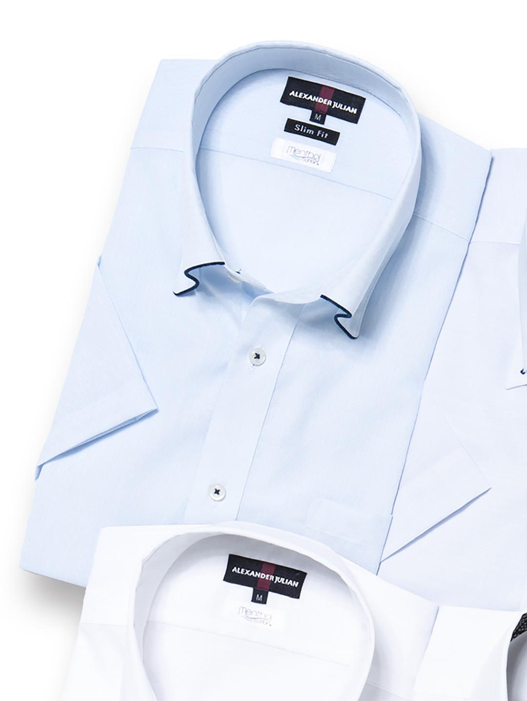 メンソールコットン スリムフィットボタンダウン半袖シャツ