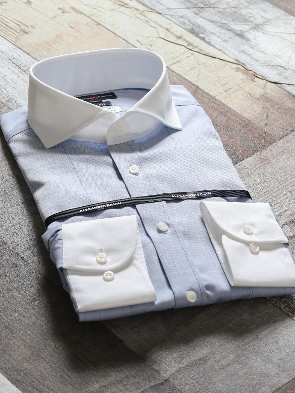 綿100%形態安定スリムフィット カッタウェイクレリック長袖シャツ