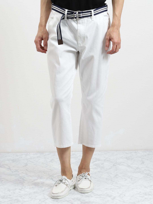 ストレッチ ベルト付きクロップドパンツ 白 紺