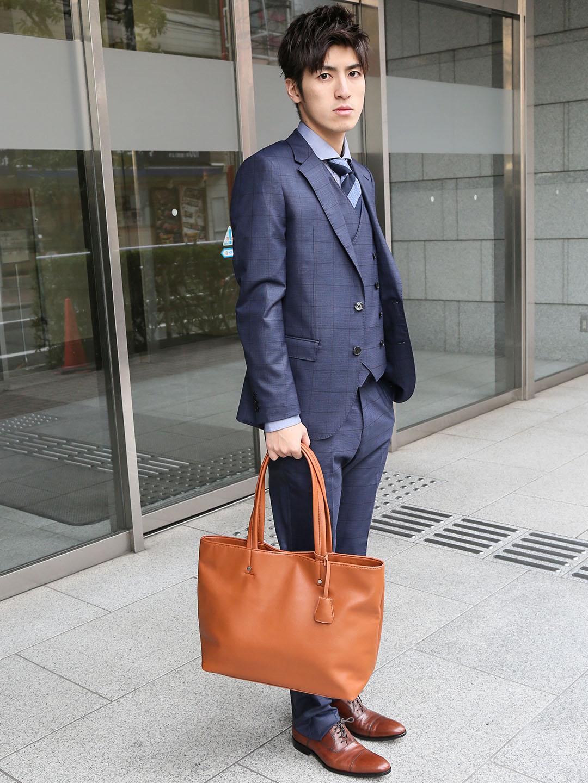 タカキューメンズ/TAKA-Q:MEN チャーム付A4対応トートバッグ(黒・キャメル・こげ茶・ネイビー)