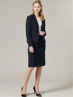 ストレッチウォッシャブル Vカラージャケット+スカート 紺