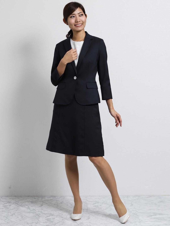 オザワルツ 1釦7分袖ジャケット+スカート 紺