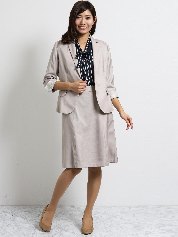 オザワルツ 1釦7分袖ジャケット+スカート ベージュ