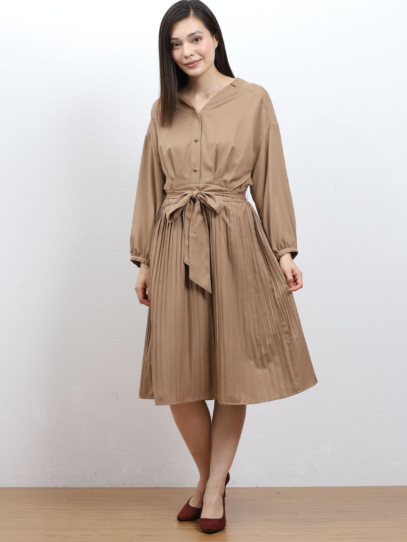 裾プリーツ7分袖シャツワンピース