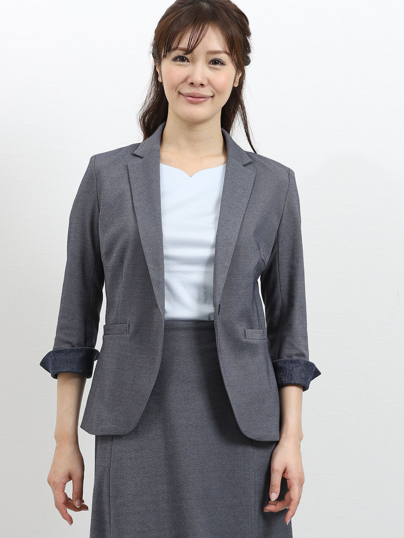モクロディー セットアップ1釦7分袖ジャケット 青