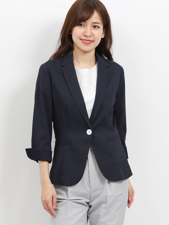 コードレーン 1釦7分袖テーラージャケット 紺