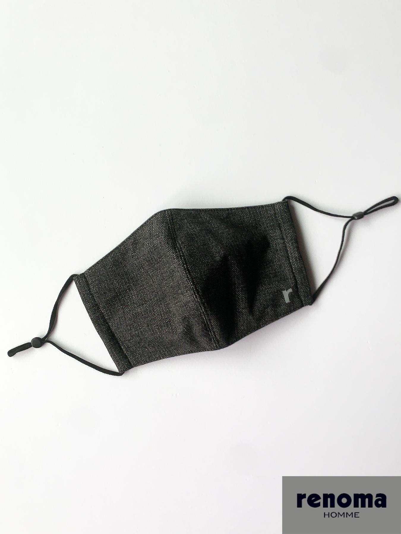 表地にスーツ素材を採用した立体マスク