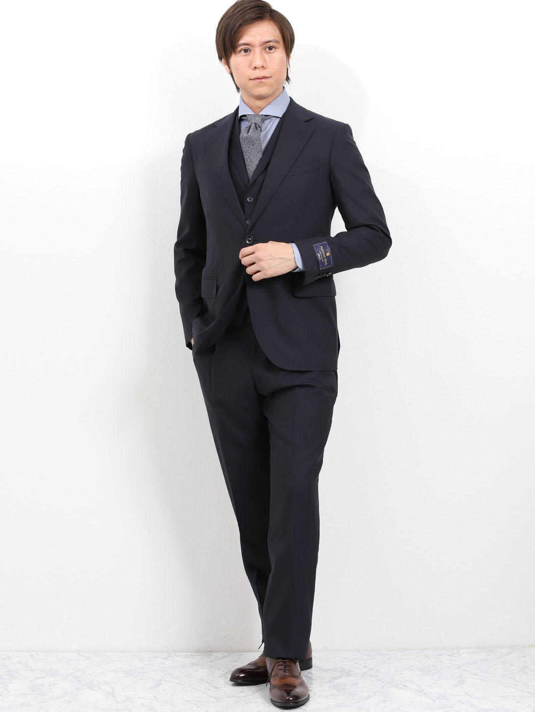 954530598c9b9 ウール100% SUPER140 S ヘリンボン紺 3ピース スリムスーツ(Y3 75紺 ...