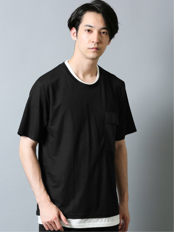 接触冷感 セットアップ フェイクレイヤード半袖Tシャツ グレー