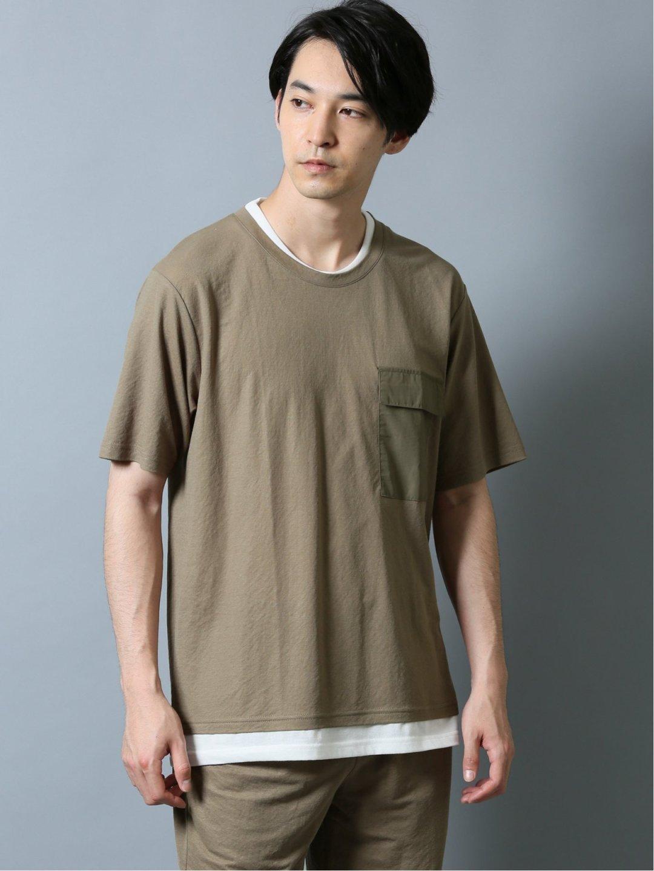 接触冷感 セットアップ フェイクレイヤード半袖Tシャツ ベージュ