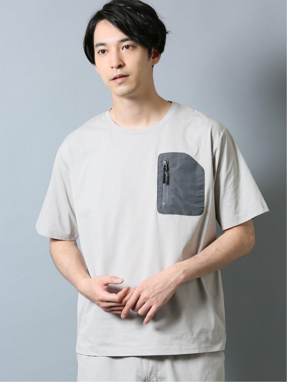 ストレッチ吸水速乾 セットアップ クルーネック半袖Tシャツ アイボリー