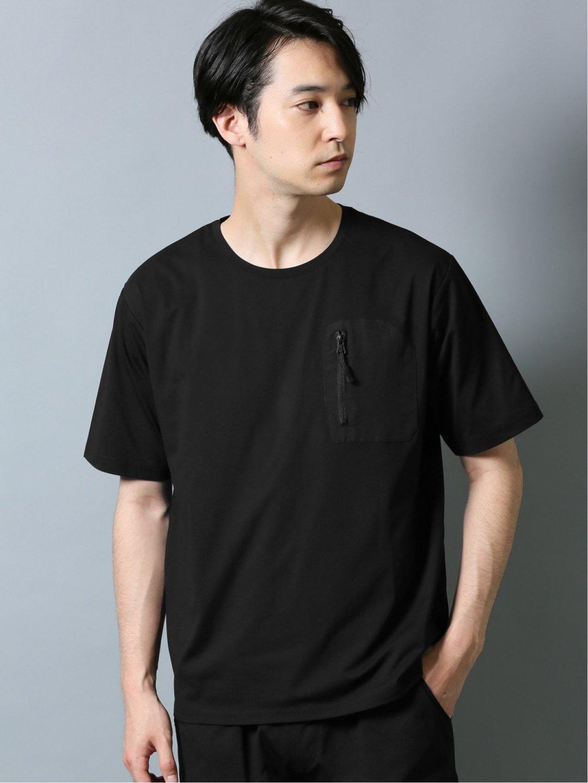 ストレッチ吸水速乾 セットアップ クルーネック半袖Tシャツ 黒