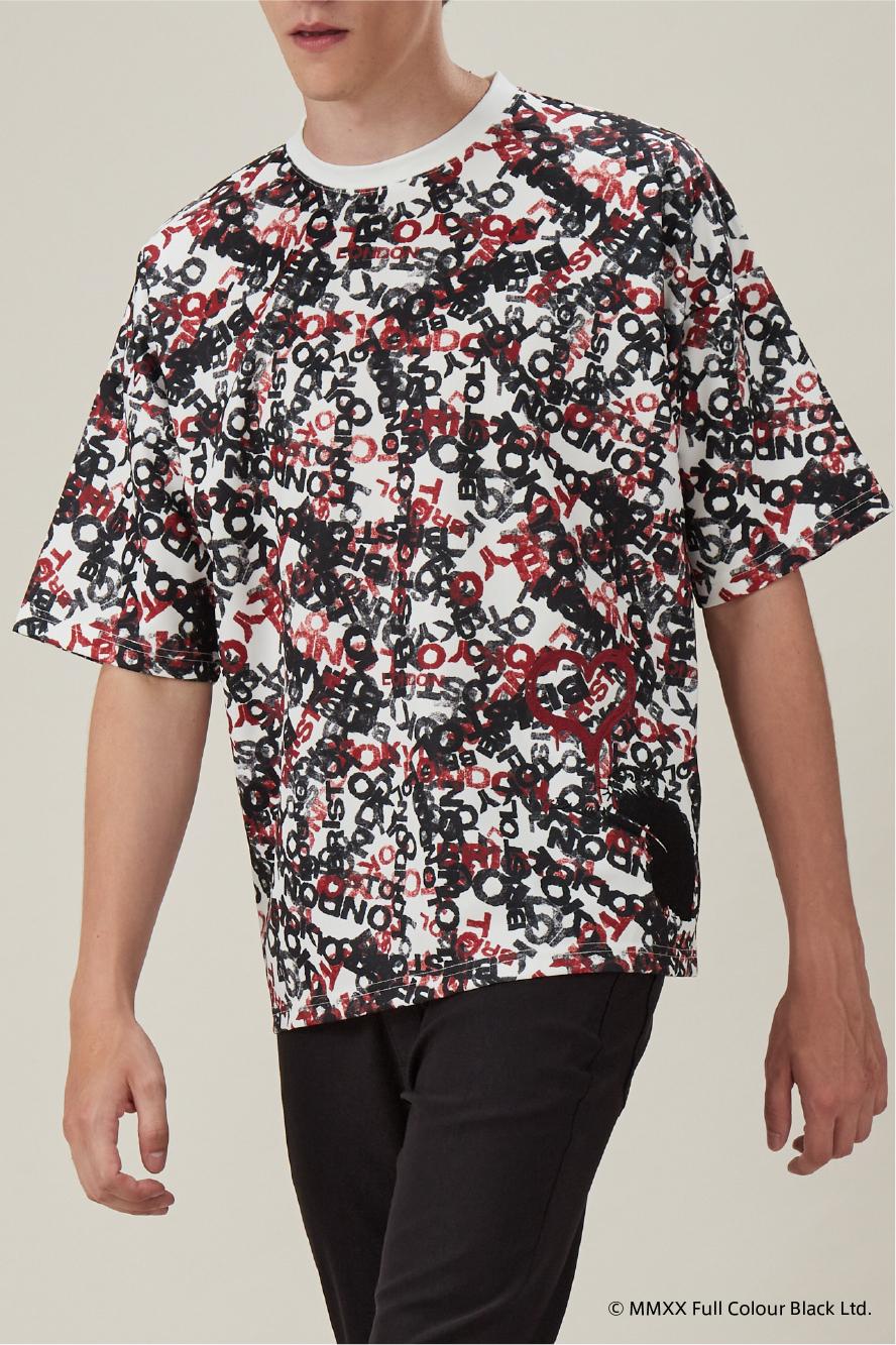 ロゴ総柄半端袖Tシャツ