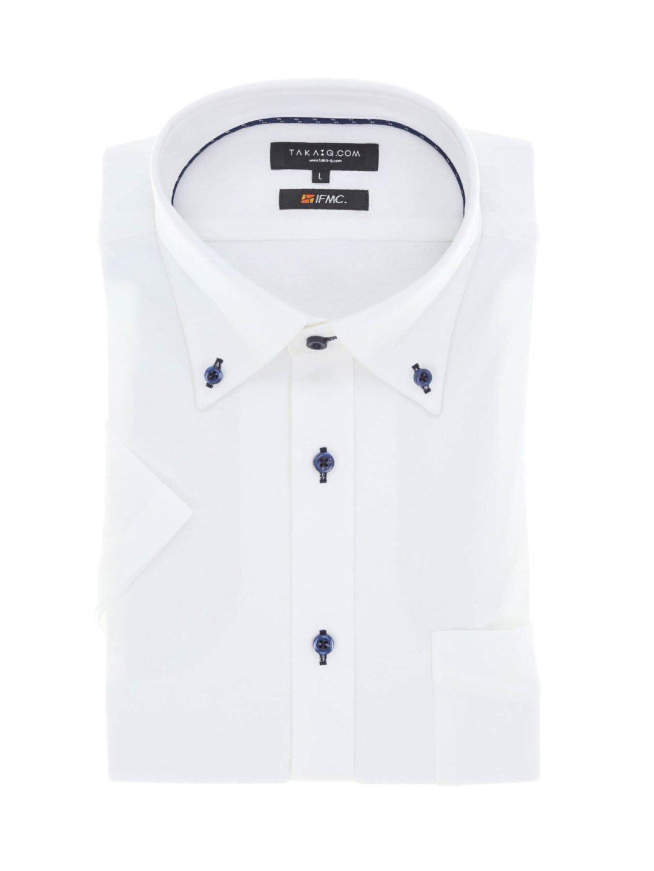【WEB限定】IFMC スリムフィット ボタンダウン半袖ニットシャツ